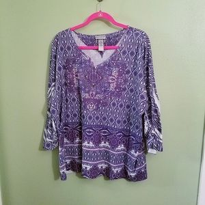 VGUC Print Tunic with 3/4 Sleeves 3x